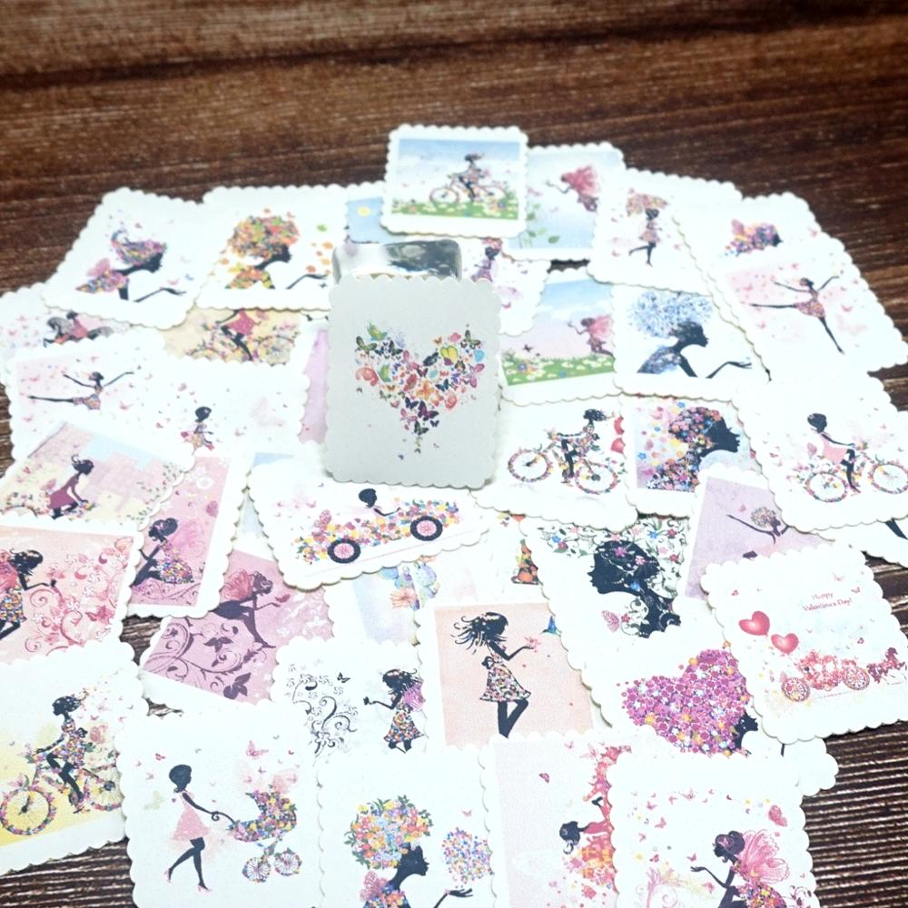 42PCS Sweet Girls Paper Stickers DIY Diary Scrapbooking Album Journal Happy Plan Decorative Stickers Kid Students Gift Stickers
