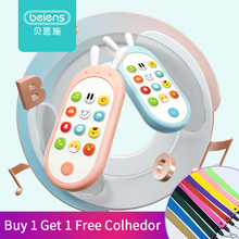 лучшая цена Beiens Baby Phone Toy Mobile Phone for Kids Telephone Toy Enfant Early Educational Mobile Toy Chinese/English Learning Machine
