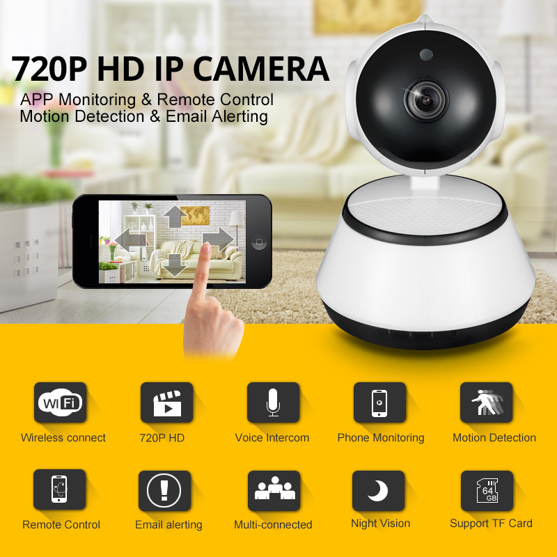 720P IP Camera Wi-Fi Wireless Surveillance Camera P2P CCTV Wifi Ip Camera Free APP V380 Home Security Cam Baby Monitor image