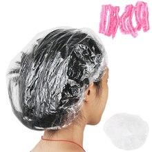 100 шт для женщин и мужчин прозрачные одноразовые пластиковые шапочки для ванной для спа-салона