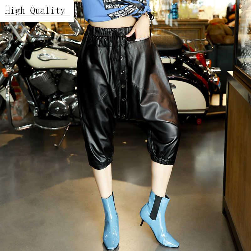 2020 ของแท้หนังดินสอกางเกงผู้หญิงธรรมชาติ Sheepskin หญิงจริงหนังกางเกง Drawstring เดียว Breasted กางเกง Hip Hop