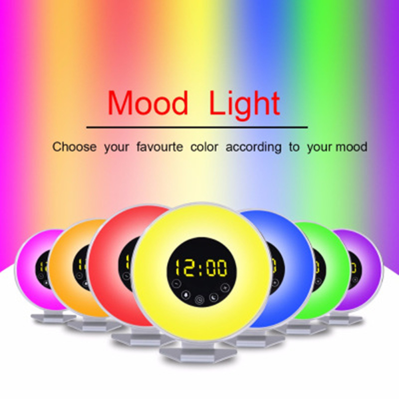 Touch Wake Up Lights Digital Alarm Clock Colorful Atmosphere Bedside Lamp Sunrise Sunset Memory Radio Sleep Light Novelty Gifts