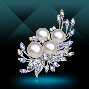 Elegant Art Simulated Pearl Flower Brooch Pin Accessories Fashion Engagement Wedding Jewelry For Women
