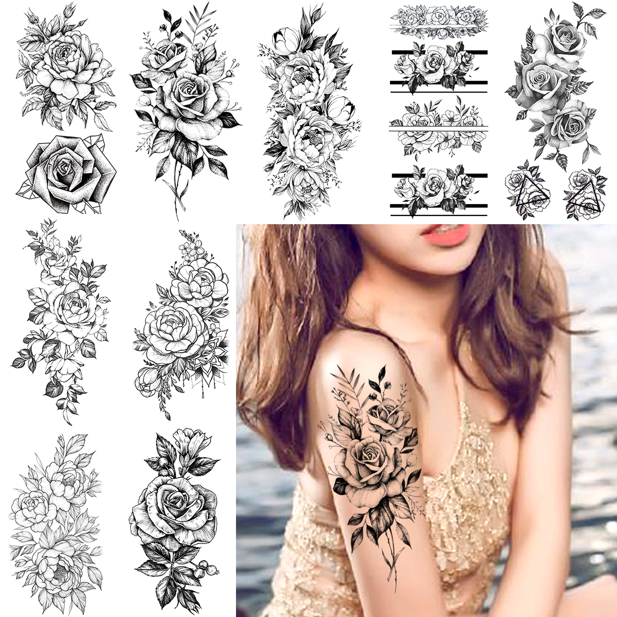 Sexy Women Temporary Tattoos Realistic Rose Flower Arm Tattoo Sticker Waterproof Bloosom Henna Body Art Fake Tatoo Makeup Decals