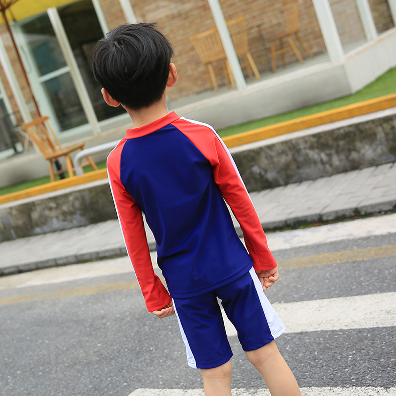 Haiyishan New Style KID'S Swimwear Long Sleeve Sun-resistant Split Type Boxer With Swim Cap Middle And Large BOY'S Boy Hot Sprin