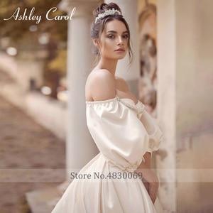 Image 3 - Ashley Carol Satin A Line Wedding Dress 2020 Puff Sleeve Beading Crystal Sweetheart Bride Dresses Button Vintage Bridal Gowns