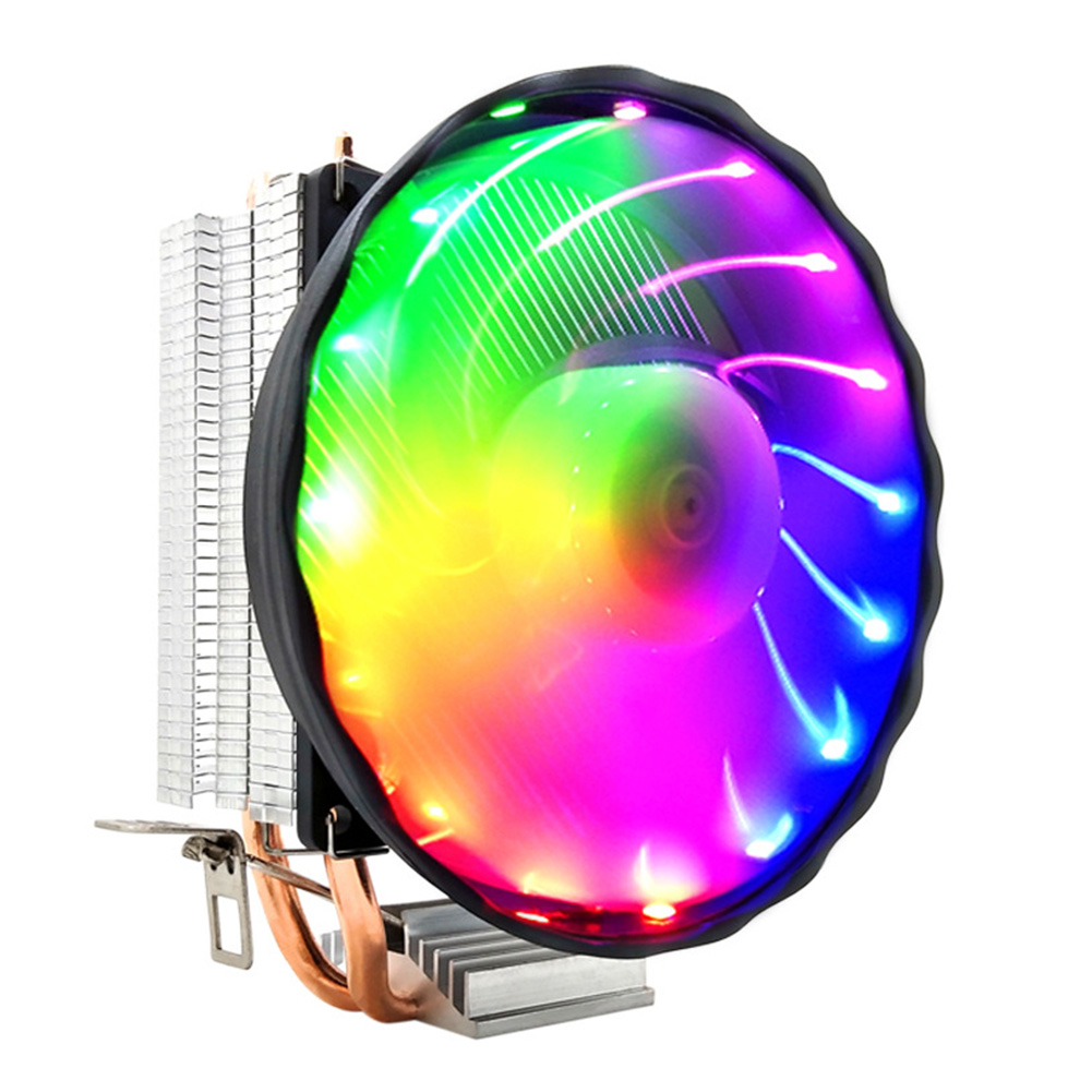 Radiator Led 2 Heatpipes Desktop Computer <font><b>RGB</b></font> Fan 12V <font><b>CPU</b></font> <font><b>Cooler</b></font>  Copper Cooling Silent 3 Pin Durable For LGA 1155/<font><b>1151</b></font> AMD image