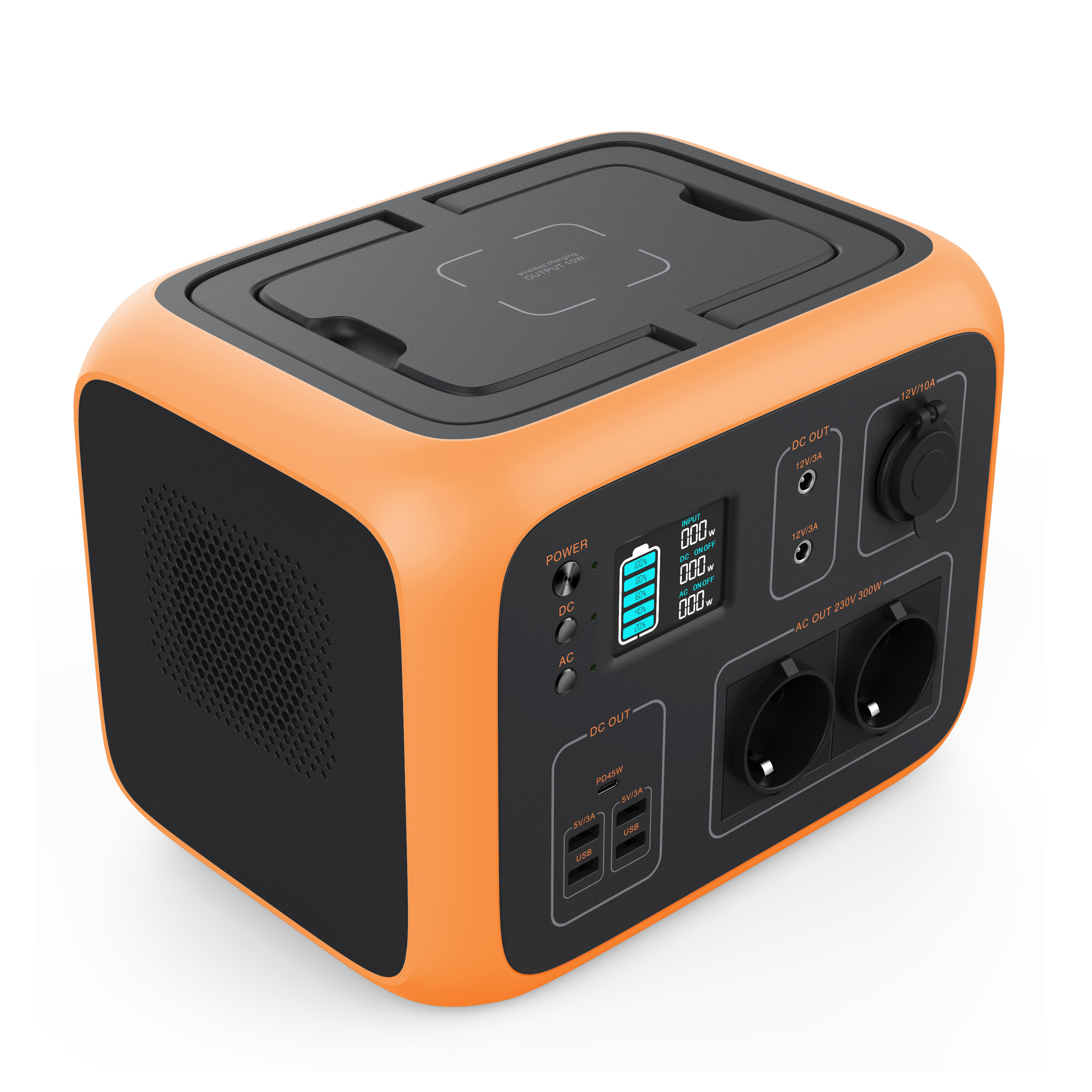 Portable Generator <font><b>Power</b></font> Station 500Wh <font><b>Solar</b></font> Generator 2AC Outlet 300W Lithium Emergency Battery for Outdoor AC/Car/Sun Recharge image