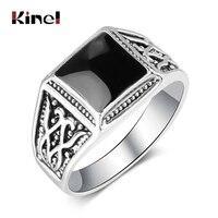 Kinel de lujo Punk Rock de esmalte negro anillo de los hombres de plata tibetana de anillos de compromiso para los hombres joyería de la boda Vintage