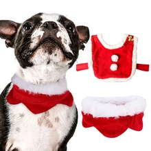 Pet Christmas Costume Cape For Dogs Cats Cute Dog Cat Plush Lace Santa Claus Cloak With Hat Red Adjustable Scarf Bib