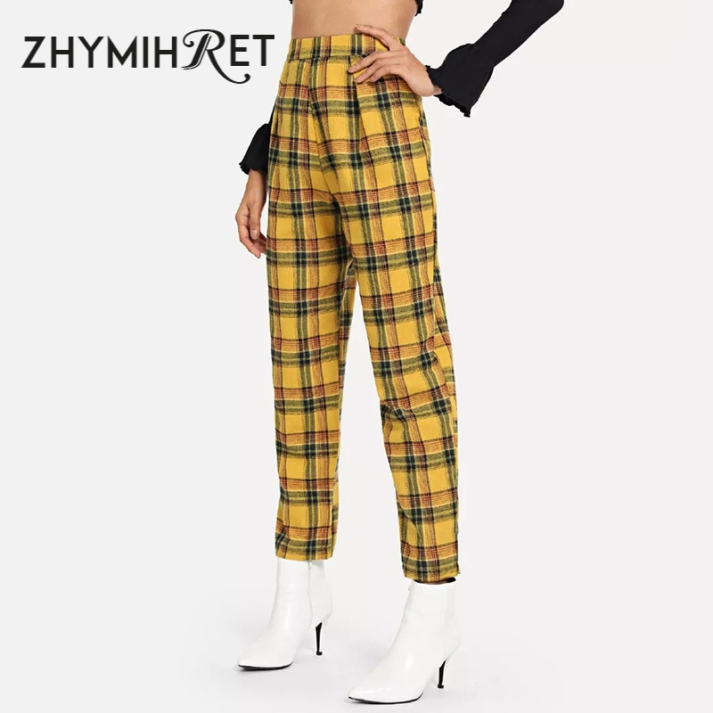 ZHYMIHRET Casual Yellow Plaid High Waist Straigh   Pants   Women 2019 Autumn   Capris   Pantalon Femme Side Zipper Trousers Streetwear