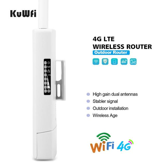 KuWFi Waterproof Outdoor 4G CPE Router 150Mbps CAT4 LTE Routers 3G/4G SIM Card WiFi Router for IP Camera/Outside WiFi Coverage 3
