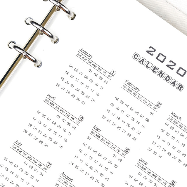 6 Holes PVC Spiral Binder Planner Divider Inner 2020 Calendar for Notebook And Journals Organizer A5 A6 Index Loose Leaf