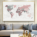 Modern World Map Canvas Painting Blush Pink & Hunter Green Map of The World Posters and Prints Wall Art Picture for Living Room