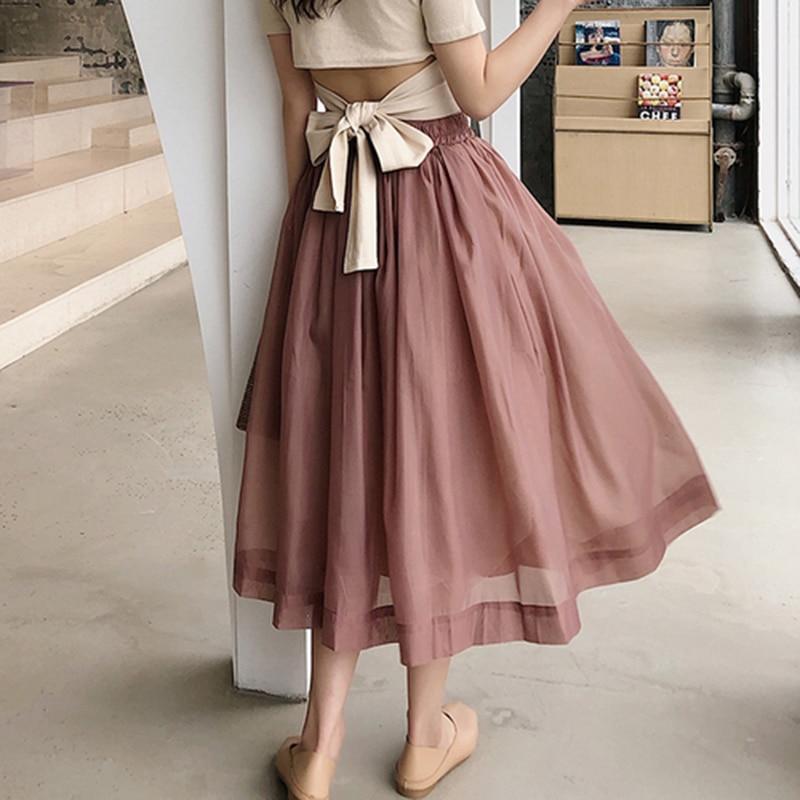 New Arrival Summer Korea Fashion Women High Waist Long Skirt All-matched Casual Sweet Organza Ball Gown Skirt Top Quality S169