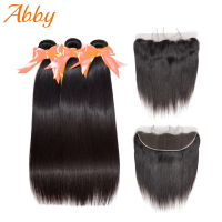 Malaysian Straight Human Hair Weft 100% Human Hair Bundles With Frontal Remy Hair Extensions ABBY Hair 2/3 Bundles With Frontal