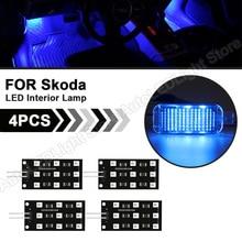 4Pcs LED Chipset LED Footwell Light CANBUS Indoor Light Footwell Interior Lamps For SKODA Kodiaq Karoq VW Arteon SEAT Audi