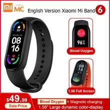 Versão em inglês xiaomi mi banda 6 inteligente pulseira colorida tela amoled miband 6 smartband rastreador de fitness bluetooth 5.0