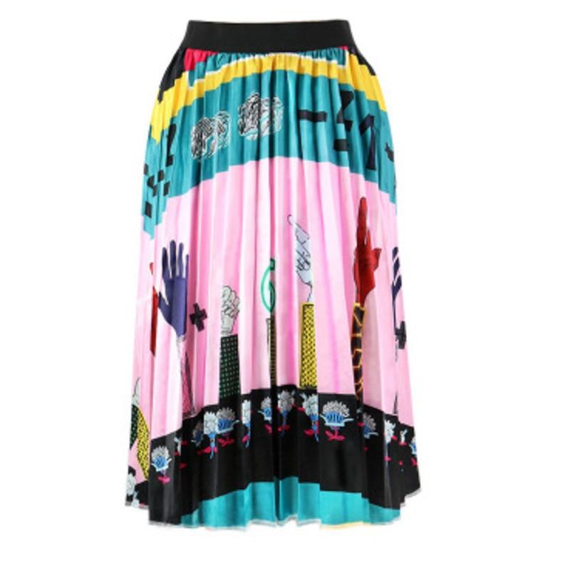 2020 Summer Newest Letter Print Long Skirt Women Irregular Stitching Color Skirt Lady High Waist Elastic A-Line Skirt ZQY832 2