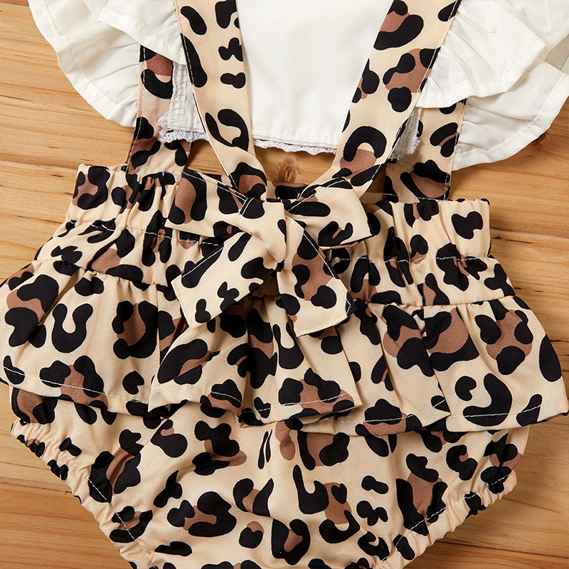 2PCS Infant Baby Girl Leopard Romper Jumpsuit Clothes Outfits Summer Toddler Girl Rompers Newborn Baby Costume 0-24Months