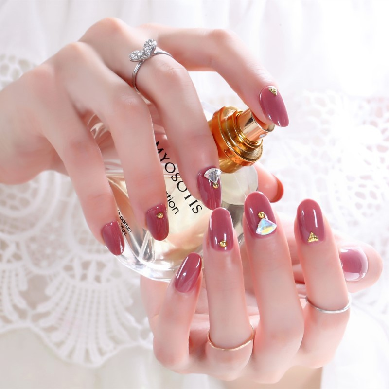 Fake Nails Wear-Deconstructable Nail Tips Bean Paste Zircon Kim Mid-length Bride Manicure Stickers 247