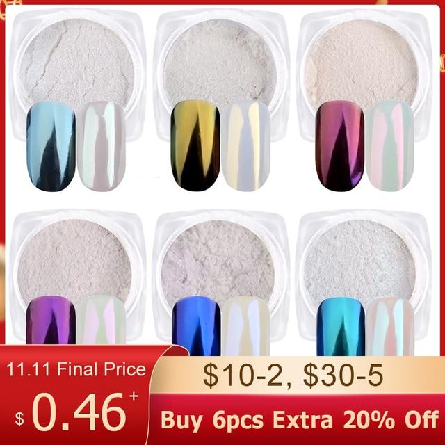 1Box Gradient Shining Nail Glitter Dust Magic Mirror Effect Powder Aurora Nail Art Pigment DIY Decoration Dust Tools BEB01 07