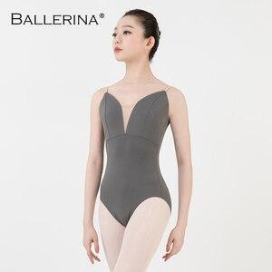 Image 5 - Justaucorps de ballet femmes aerialiste pratique danse Costume V profond fronde noir gymnastique justaucorps Adulto ballerine 5039