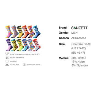 Image 2 - SANZETTI 12 çift/grup Yenilik erkek Renkli Penye Pamuk Kış sıcak Ekip Çorap Rahat Kişilik Mutlu düğün elbisesi Çorap