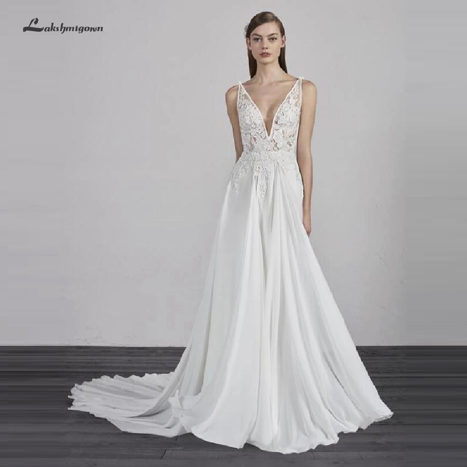 Immagini Abiti Da Sposa.Lakshmigown Sheer Illusion Chiffon Wedding Dress A Line 2019 Abito
