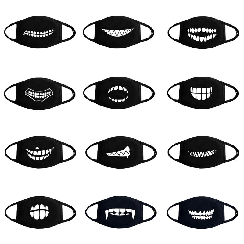 Creative Black Dustproof Mask Tooth Personality Printing Mask Cotton Boutique Thick Mask Adult Breathable Anti-fog Mask TSLM1