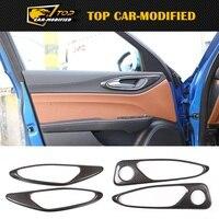 Free shipping interior modification accessories 100% carbon fiber car inner door handle frame cover trim for Alfa Romeo Giulia
