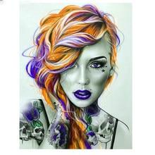 Nueva mujer guapa 5D DIY diamante pintura Color de pelo foto completa/cuadrado/diamante redondo bordado 5D regalo de punto de Cruz casa Decoración