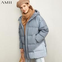 Amii moda kobiety dół kurtki dorywczo jednolite, luźne z kapturem, na suwak kobiet gruby puchowy płaszcz 11930381