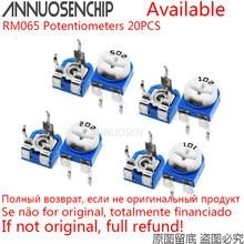 20pcs RM065 RM-065 100 200 500 20 10 5 2 1K K K K K K 100K 200K 500K 1 50 M ohm Trimpot Trimmer Potenciômetro Resistor Variável 101