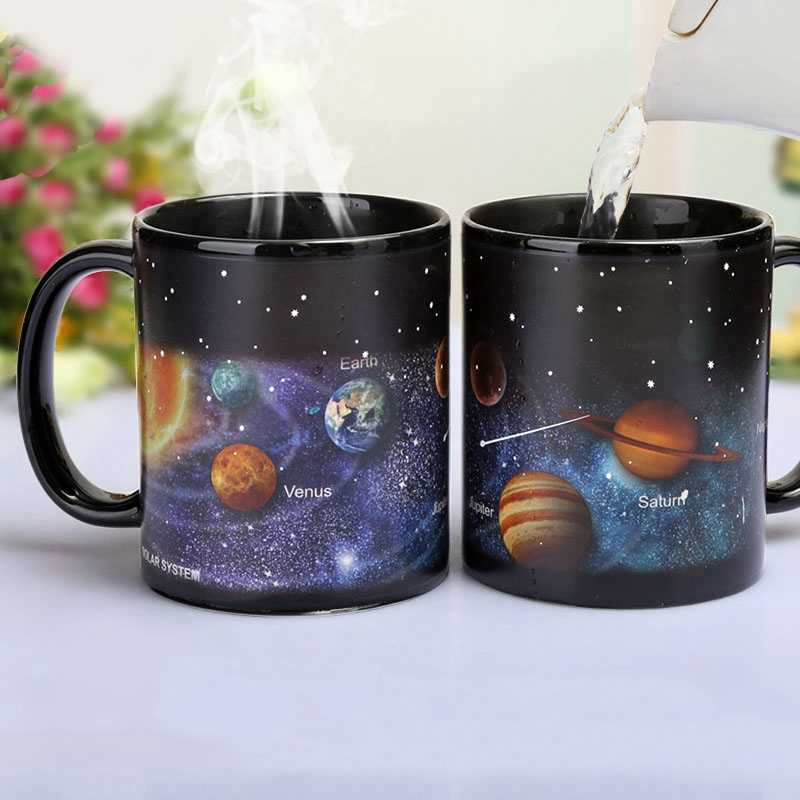 Nuevo estilo tazas de cerámica taza de cambia el color tazas de café con leche regalos para amigos taza de desayuno para estudiantes tazas de sistema Solar de estrella