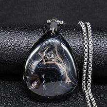 Ожерелье из нержавеющей стали с черным натуральным камнем для