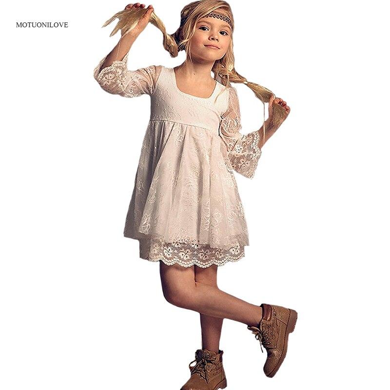 3/4 長袖レーススクエアカラーショートフラワーガールドレスプリンセス神聖初聖体のドレスの女の子衣装