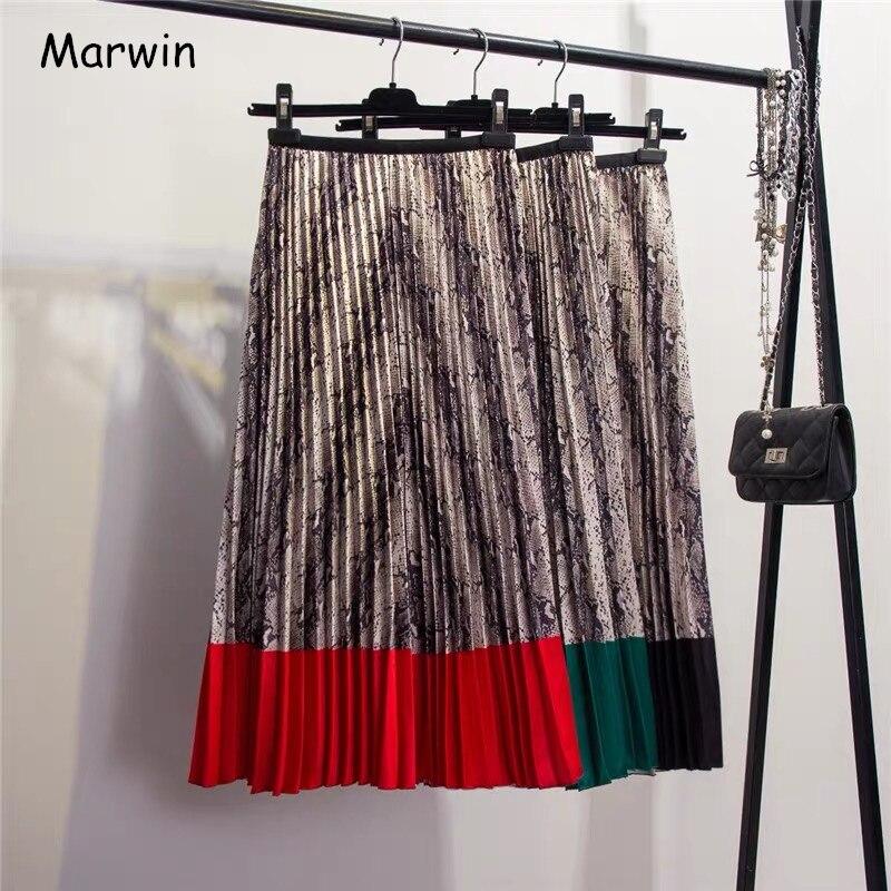 Marwin 2019 printemps nouvelle venue style occidental peau de serpent motif contraste couture plissée jupes haute rue Style a-ligne jupes
