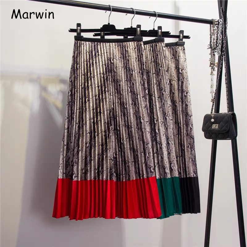 Marwin 2019 Spring New-coming Western Style Snakeskin Pattern Contrast Stitching Pleated Skirts High Street Style A-Line Skirts