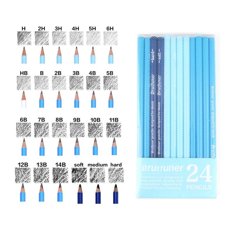 Brutfuner 24Pcs 6H To14B Soft Sketching Pencil Hard Medium Soft Charcoal Pencils Drawing Pencils Set School Standard Pencils