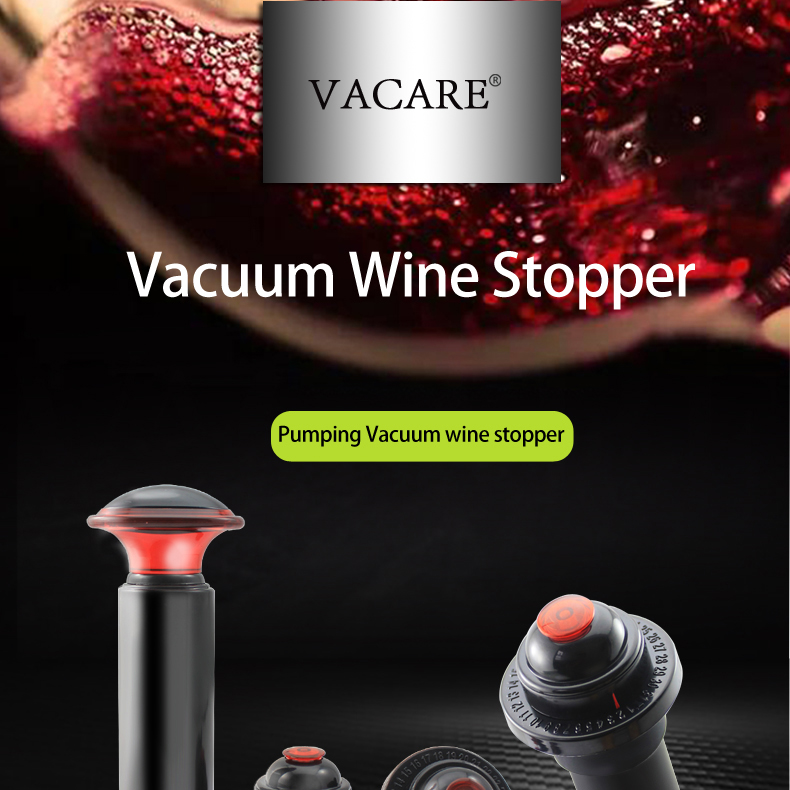 Vacuum Wine Bottle Stopper Vacuum Preserver for Stop-Air to Keep Wine Fresh Pack of 2 with Black and White Pair Gift for Wine Lover bronze