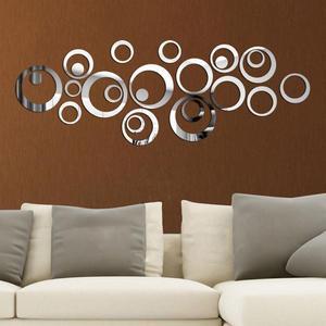 24Pcs/set 3D DIY Circles Wall Sticker Decoration Mirror Wall Stickers for TV Background Home Decor Acrylic Decor Wall Art