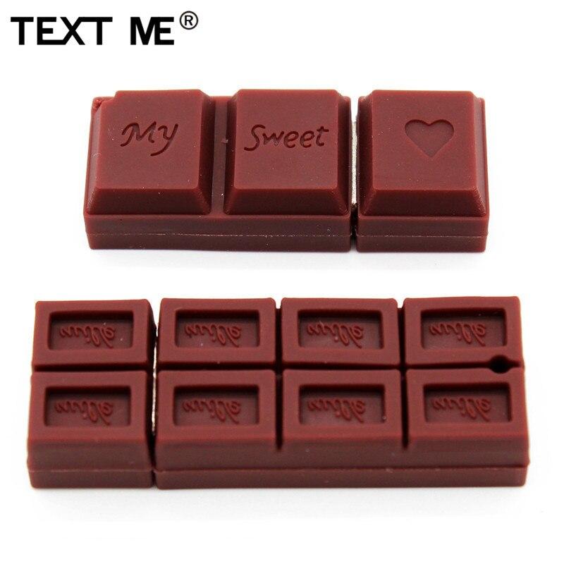TEXT ME Cartoon Real Capacity Chocolate Model  Usb Flash Drive Usb 2.0 4GB 8GB 16GB 32GB 64GB Pendrive Gift