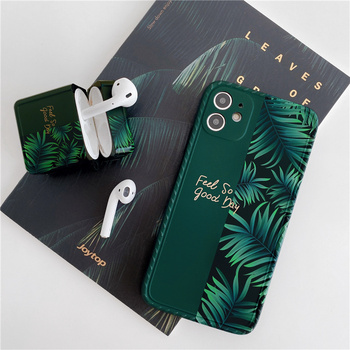 Green banana leaf phone Case For iphone 11 11Pro X XR XS 7 8Plus SE for Apple airpods 1 2 Pro silicone case cover