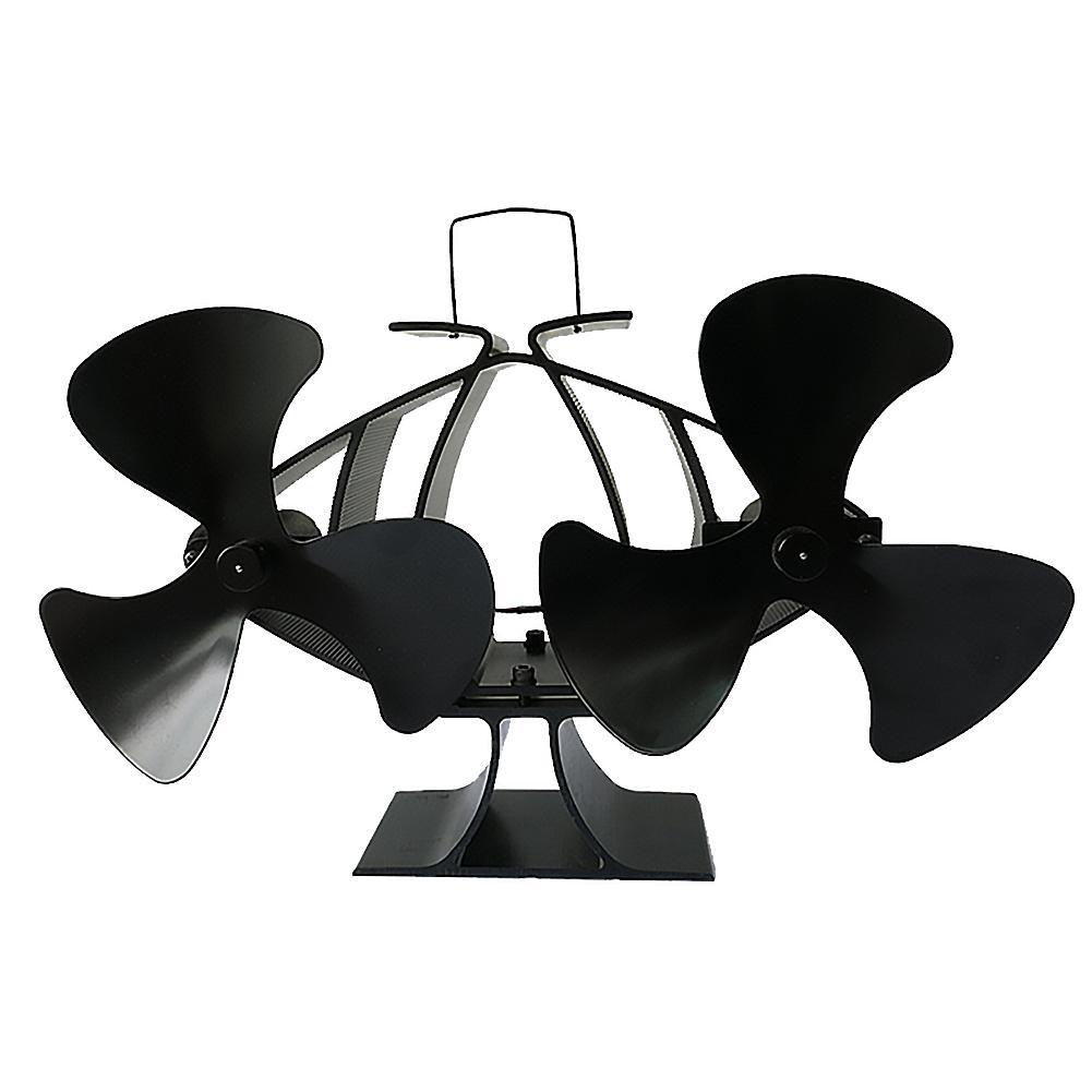 Stylish Fireplace Fan Dual Motor 6-blade Black Stove Fan Hot Blast Stove Dedicated To Fireplace Wood Burning Efficient Heat Save