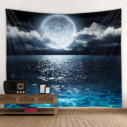 Universe Galaxy Beautiful Aurora Moon Under The Night Sky Printed Background Tapestry Wall Decoration Cloth Bohemian Hippie