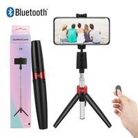 Pau de selfie 3 em 1 com tripé e suporte portátil, sem fio, bluetooth, para iphone, huawei e samsung