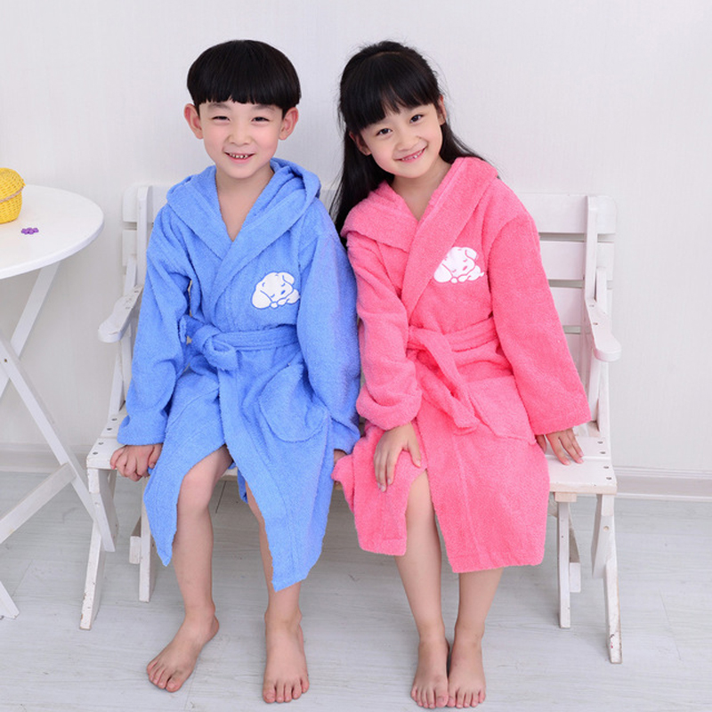 Kids Cartoon Hooded Robe 100% Cotton Toweling Terry Robe Boy&Girls Winter Warm Robe Bathrobe Soft Sleeprobe Kids Casual Homewear