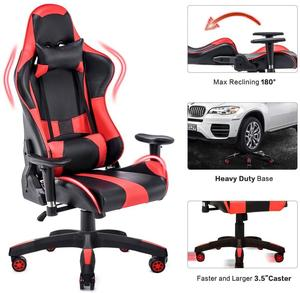 Recliner Backrest Swivel Gaming Chairs for Home and Office of PU Leather Home Computer Desk Chairs with Headrest and Lumbar(China)