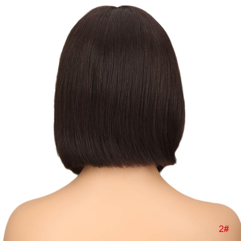 """Rebecca bob парики на кружеве для черных женщин перуанские короткие парики из человеческих волос Омбре человеческие волосы парик Средняя часть 1"""" - Цвет волос: #2"""